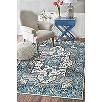 Blue Vintage Oriental Area Rugs Floral Border Soft Carpet Large for Living Room (80 x 160cm)