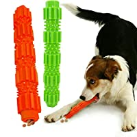 Puppy Dog Chew Toys Teething Training 100% Natural Rubber Non-Toxic Soft Tooth Cleaning Toy Perfect to Relieve Pets Boredom Interactive Training Toys Leaking Food for Pet Supplies Dog Chew Toys 2 Pack