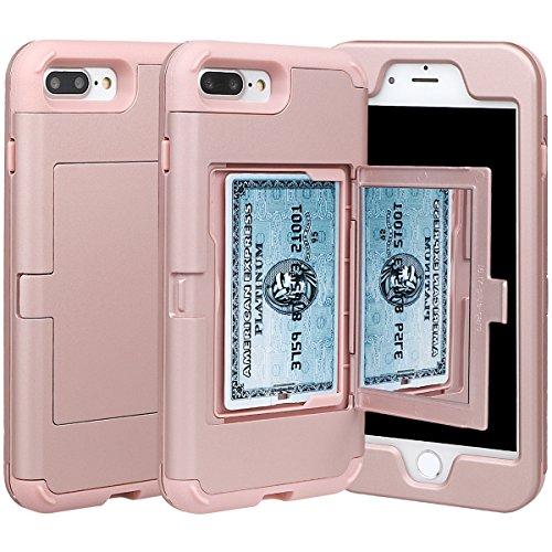 """xhorizon Coque mince d'armure et de protection antichoc de portefeuille avec une double couche cachée avec miroir pour le support de la carte de crédit pour iPhone 7 Plus/ iPhone 8 Plus[5.5""""] Or rose"""
