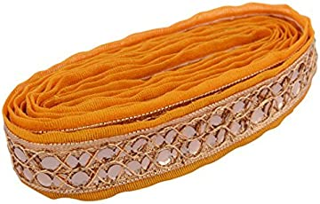 AM Fabric Fashion Zari Lace Yellow for dress/sarees/blouses/crafts (Pack of 2 meters )