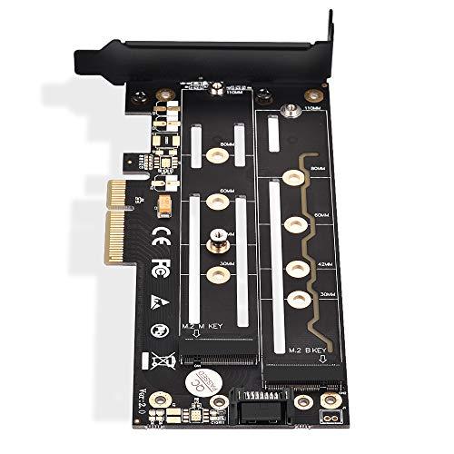 X4 Mit X8-steckplatz (ELUTENG M.2 PCIE Adapter M / B Key Dual Port PCI-e 3.0 x4 / x8 / x16 NVME M.2 SSD Karte mit Kühlkörper NVME PCIE Adapter unterstützt 2230, 2242, 2260, 2280, 22110 NGFF SSD MEHRWEG)