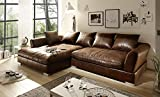 Sofa Couch Wohnlandschaft Wildlederoptik Anna L Form Rana Collection 290 x 83 x 182 cm Vintage Braun Links