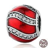 Kiss Me Argent sterling CZ Cristal Charm Perles Compatible avec bracelets Rouge Inspiration