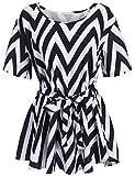 Meaneor Damen Chiffonbluse Große Größen Oberteil Kurzarm Tunika Loose Fit Sommer T-Shirt mit Rundhalsausschnitt Gr.44(Herstellergröße XXL), Farbe: Schwarz