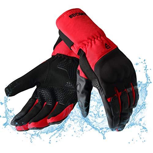 Guantes Moto Invierno Impermeables Resistentes al Viento, Pantalla Táctil Larga Manga Cálidos Guantes para Scooter, Ciclomotor, Moto Cross, Bicicleta, Deportes al Aire Libre - M Rojo