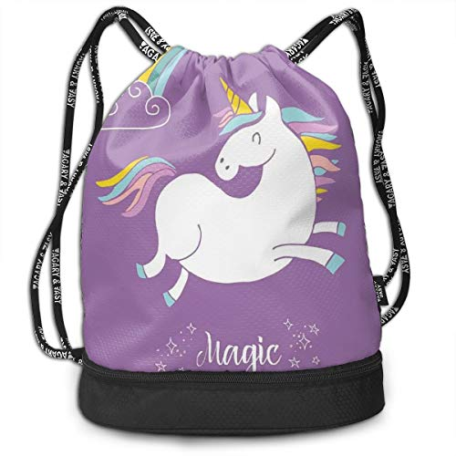 LULABE Printed Drawstring Backpacks Bags,Mythical Animal with Clouds and Rainbow Figure Fairy Cute Unicorn Image Print,Adjustable String Closure