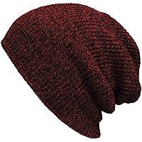 OULII Sombrero hecho punto slouchy cálido invierno sombrero hecho punto tapas suave caliente de esquí sombrero hombres Hip-Pop Beanie gorro (vino rojo verde)