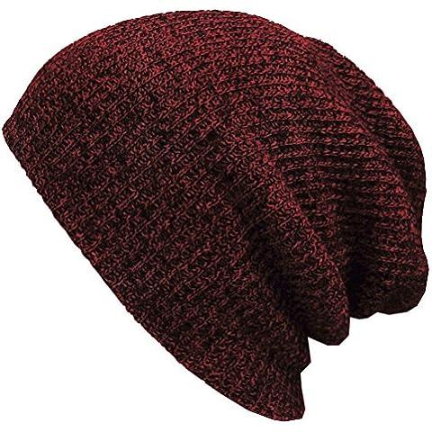FENICAL Sombrero hecho punto slouchy cálido invierno sombrero hecho punto tapas suave caliente de esquí sombrero hombres Hip-Pop Beanie gorro (vino rojo