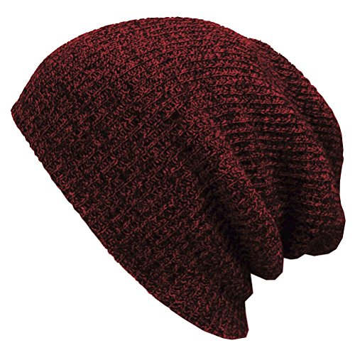 ROSENICE Slouchy inverno cappelli cappello floscio a maglia Beanie cappelli con visiera morbida e calda da sci Hat(Red)