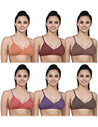 Yes Beauty Women's Cotton Non-Padded Bra with Adjustable Straps (Multicolour, 34) - Pack of 6