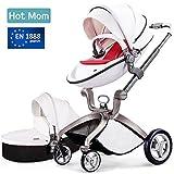 Hot Mom Kombikinderwagen mit Buggyaufsatz und Babywanne 3-in-1 Travelsystem Funktion 2018, weiß (rot)