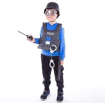 Police Officer Toy Megaphone w// Siren Sounds Handcuff Spontoon Dress Up Set