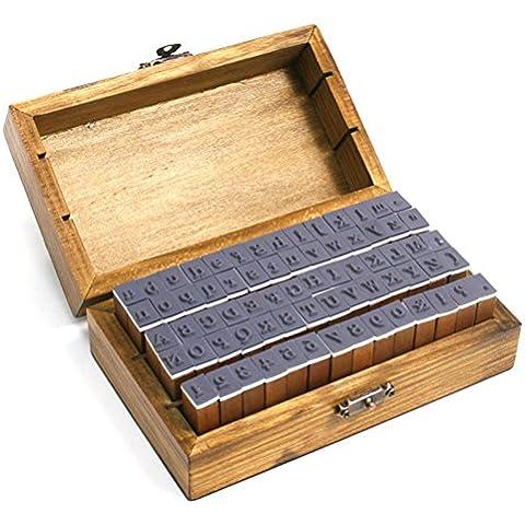 GoldenTrading 70pcs/set multiusos n?mero alfabeto letra madera caja de madera sello de goma