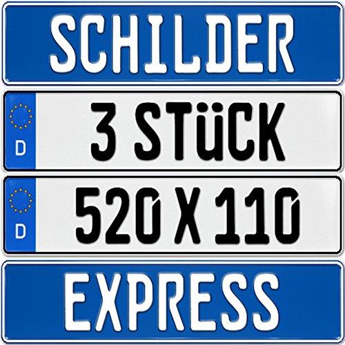 Preisvergleich Produktbild Nummernschilder 3 Stück Kennzeichen mit Wunschprägung EU Standard 520 x 110 mm + neue KFZ Schein Schutz Hülle
