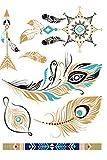 4 Feuilles Plumes Tatouage Autocollant Ephémère étanche métalliques brillants Tatouages Temporaires pour le corps (2)