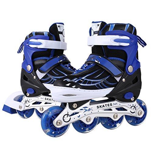 Ancheer Für Kinder Jungen Mädchen Einstellbare Größen Beleuchtung Räder Atmungsaktives Mesh Dreifachschutz Inline Skates Aluminium Rahmen Einstellbare Rollschuhe (Blau, 39-42) (Jugend-skate-schuhe 3)