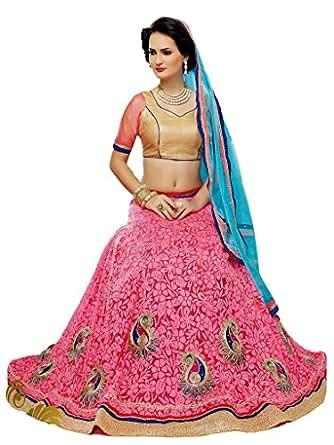 Desi Look women's pink net brasso booti embroidery work semi stitched lehenga