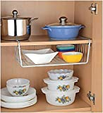 HOME CUBE® 1 PC Under Shelf Basket Wire Rack Easily Slides Under Shelves for Extra Cabinet Storage - White