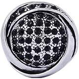 Morella Damen Click-Button Druckknopf mit schwarzen Zirkoniasteinen