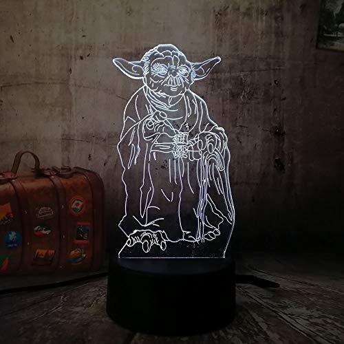 WANGJIA Star Wars Master Yoda 3D Led Nachtlicht Schreibtisch Tischlampe Rgb 7 Farbwechsel Jungen Spielzeug Weihnachtsgeschenk Raumdekor Lava -