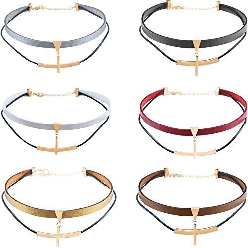 Damen Mädchen 6pcs Choker Halskette, Retro Gothic Punk Rock Krawatte Halsband geometrisch Anhänger Kette Design, blau schwarz rot braun (Krawatte Schwarz Geprüft,)