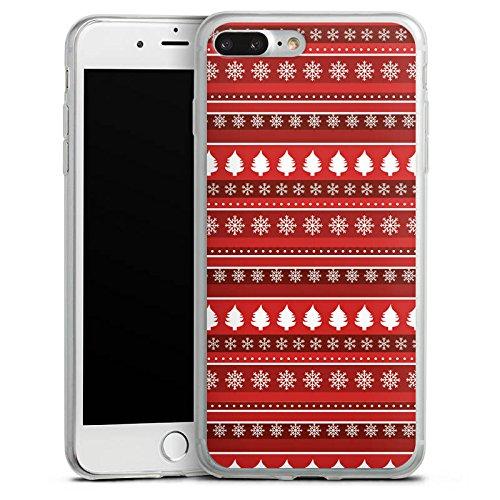 Apple iPhone X Slim Case Silikon Hülle Schutzhülle Bäume Weihnachten Rot Silikon Slim Case transparent