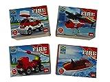 4 Stück Bausteine Set Feuerwehr, 4 verschiedene Modelle Fahrzeuge, 15 - 32 Teile Bausatz, Konstruktionssteine, Konstruktionsset