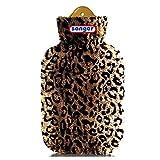 Wärmflasche 2 L inkl. Velourbezug, Wärmeflasche mit Bezug im Leopard-Design