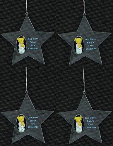 Premier 4er Pack Boys God Bless Babys erstes Weihnachten Sternförmiger Baumschmuck - Weihnachtsschmuck