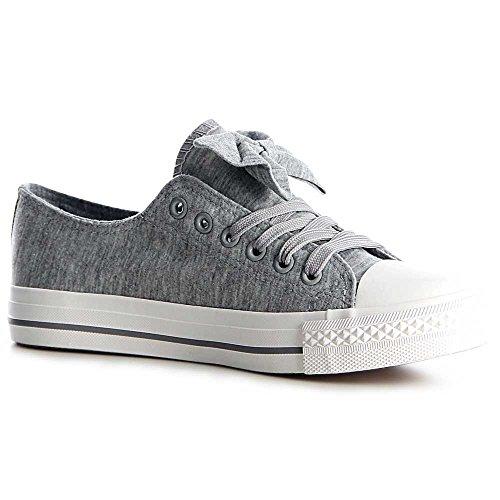Damen Sneaker Turnschuhe Schleife 1168 Grau