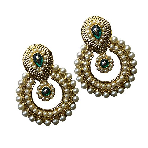 Ramleela Dangle Earring with an Ethnic Look (Green Kundan with Pearls) - UERLET02RDN-GFLP  available at amazon for Rs.210