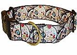 Hundehalsband Totenkopf Skull schwarz breit Nylon Halsung Band Halsband 40 - 59 cm x 4 cm