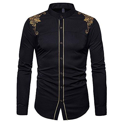 laamei Herren Hemd Stehkragen Steampunk Gothic Vintage Slim Fit mit Stickerei Langarmhemd (Herren Steampunk Kleidung)