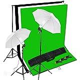 Kit d'éclairage parapluie luminière continue pour photo studio ou tournage de vidéo, 3 Fonds 3*1.6m Noir Blanc Vert avec son support, 2 Parapluies diffuseurs, 2*125W Ampoules photographiques et grand Sac de transport