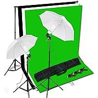 BPS Support Kit de Fond Photo Studio 2 Parapluies d'Eclairage diffuseurs avec 2 Monture Universelle total 1250W E27 5500K Ampoules et 3x1.6m Kit Fond (Noir blanc vert) Photo Support System de Fond et 1x Sac de Transport pour Studio Photo