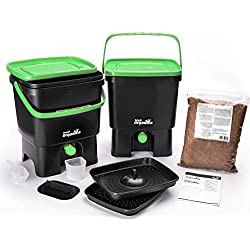 Skaza - mind your eco Composteur de Cuisine, Noir/Vert, 3,5 Gallon