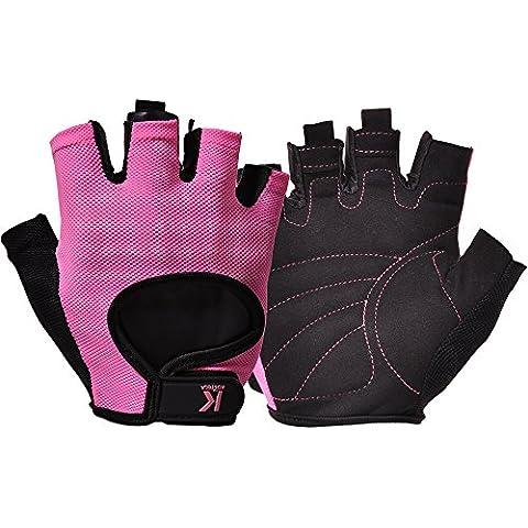 kortela profesional guantes de levantamiento de pesas–Manoplas para mujer agarre acolchado Fingerless Guantes de gimnasio para levantamiento de peso, Cruz, la formación ejercicio