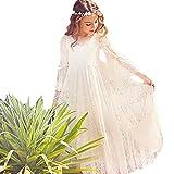 CQDY Mädchen Prinzessin Kleid Spitzen Blumenmädchen Kleid Festkleid 100-155CM (14-15Jahre(160cm), Elfenbein)