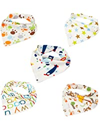 5 Pack100% algodón niños Dribble babero Bandana algodón elegante/Bandana Drool baberos para bebés y niños