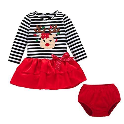 Longra Baby Mädchen Kleider Festlich Weihnachten Kleid Weihnachtskostüm Weihnachtskleid Baby Tutu Prinzessin Deer Striped Tops +Hosen Weihnachten Outfits Kleidung Kleid (Black, 90CM 18Monate)