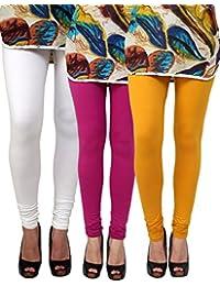 Anekaant Pack Of 3 Cotton Lycra Free Size Women's Legging -White, Purple, Gold