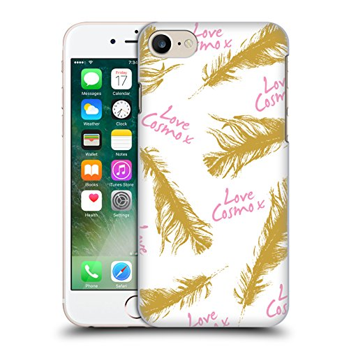 Official Cosmopolitan Zebra Love Cosmo Hard Back Case for Apple iPhone X Gold Feathers