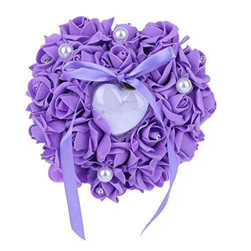 TOPINCN Romantische Ring Box Hochzeit Schmuck Geschenkboxen Herzförmige Rose Dekor Hochzeit Gefälligkeiten Ring Box Lila