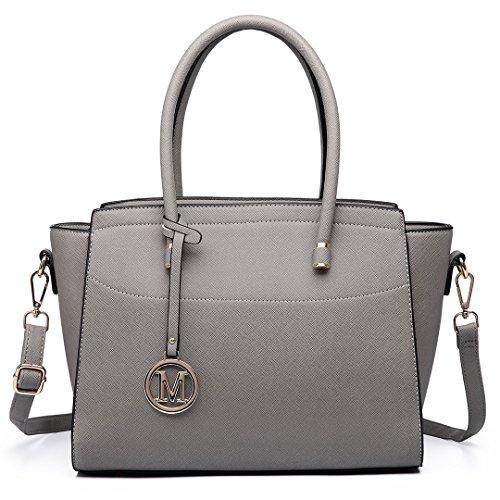 Miss Lulu Damen Klassische Handtasche Winged Schultertasche Groß Umhängetasche Taschen (6627 Grau)