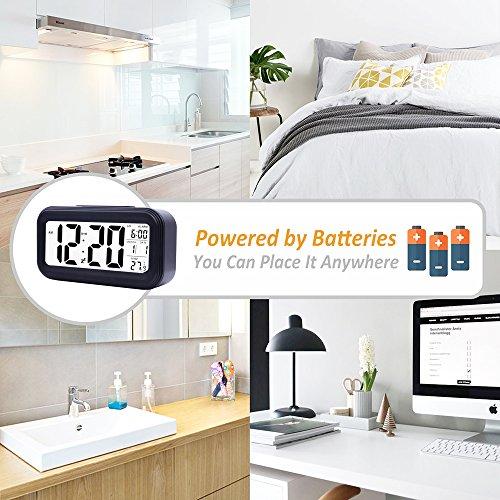 Ankoda® batteriebetriebener LED Digital-Wecker (schwarz) - 5