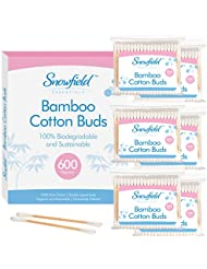Bamboo Cotton Buds 6pk (6 x 100) by Snowfield   100% Biodegradable Cotton Buds   Free Ebook with helpful hints and tips