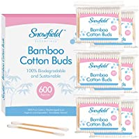 600 pk Bamboo Cotton Buds (6 x 100) by Snowfield | 100% Biodegradable Cotton Buds | Includes Ebook with Helpful Hints and Tips
