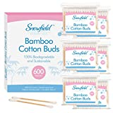Bamboo Cotton Buds 6pk (6 x 100) by Snowfield | 100% Biodegradable Cotton Buds | Free Ebook with helpful hints and tips