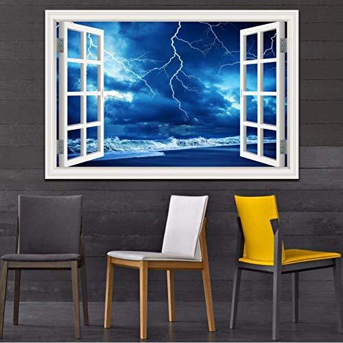Wandaufkleber 3D Fenster Landschaft Tapete Natur Landschaft Beleuchtung Dunkle Wolken Kunst Moderne Pvc Wohnkultur 60X90 cm B - Moderne Landschaft Beleuchtung