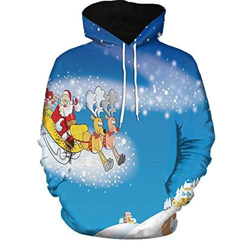 48b1cb864 Yahoo Suéter de los Hombres Suéter de Manga Larga con Estampado navideño 3D  para Hombre y